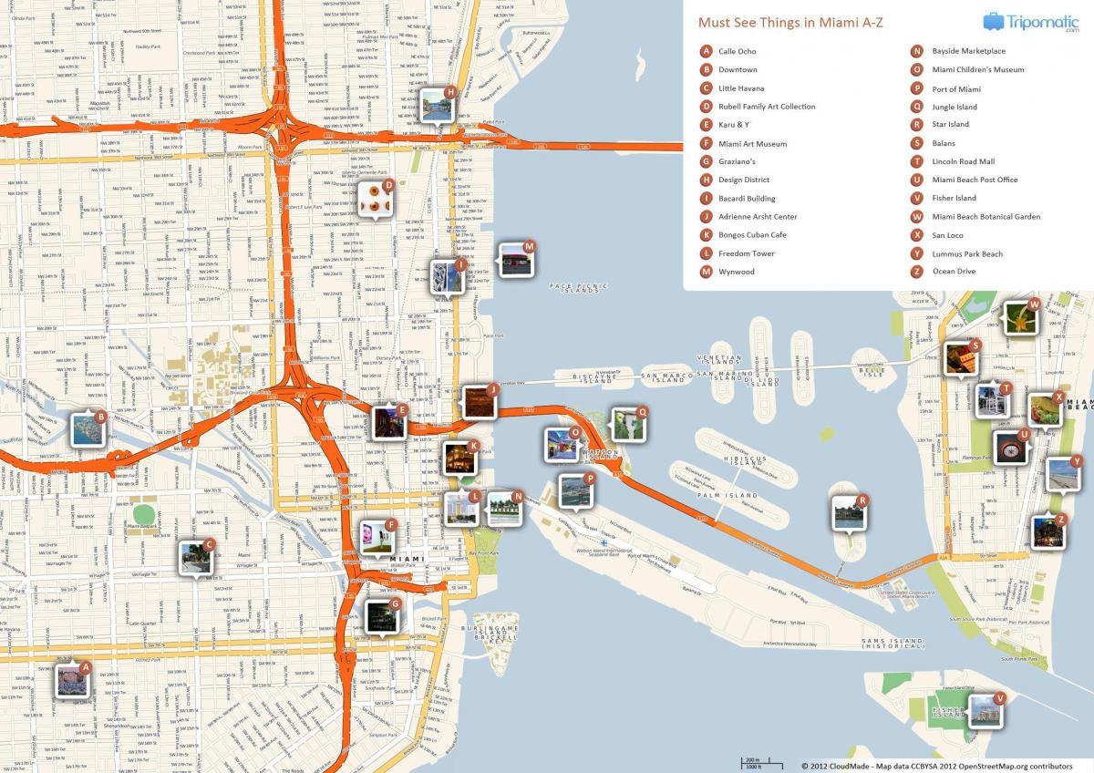 Miami Turist Kort Turist Kort Over Miami Florida Usa