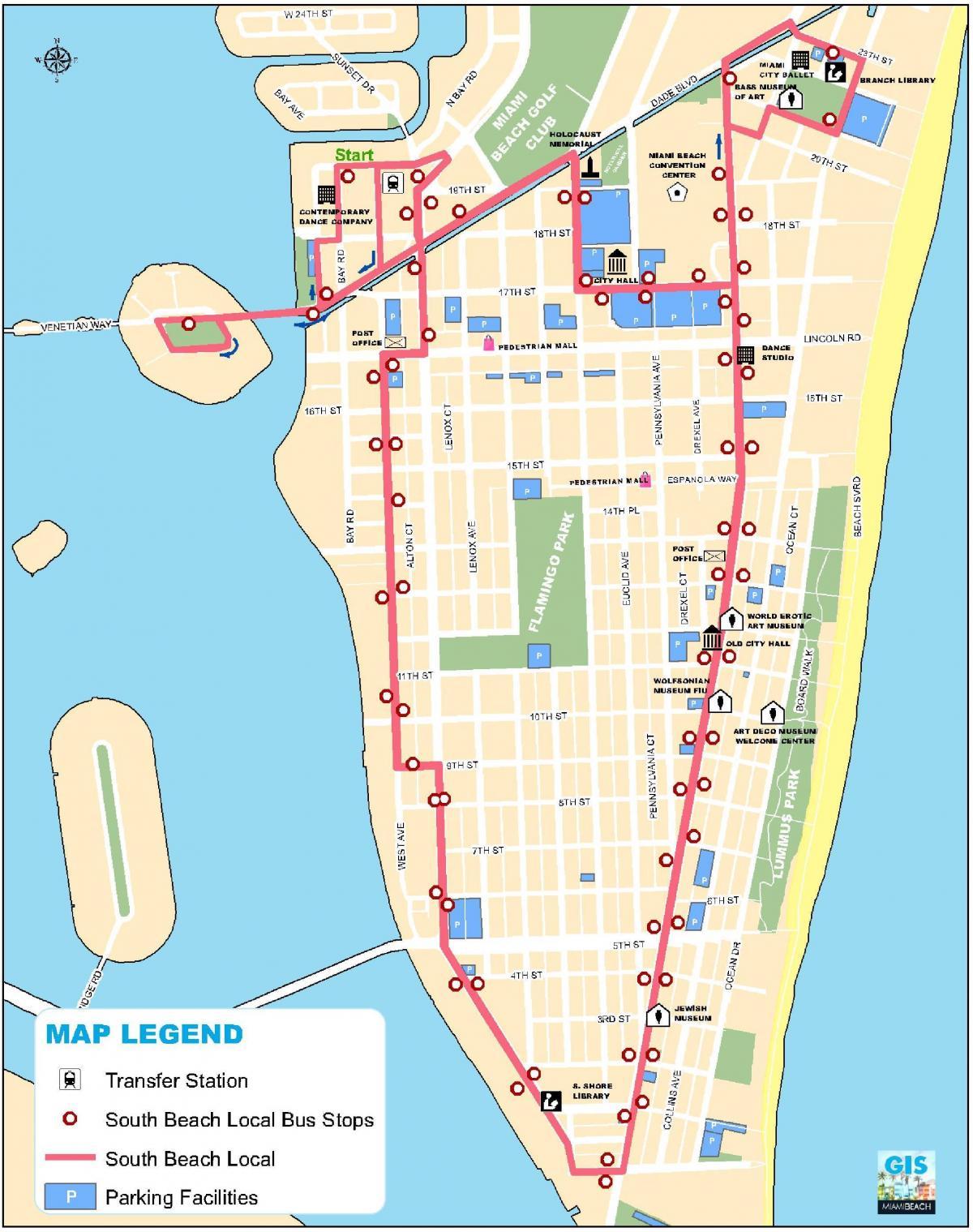 South Beach Miami Kort Kort Over South Beach Miami Florida Usa